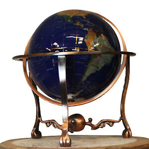 Lapis Globe With Gemstone And Mother Of Pearl Countries Heavy Round Map Of Earth