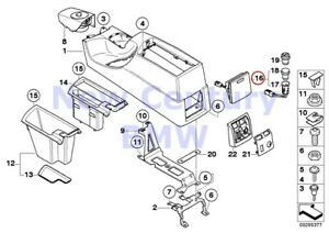Bmw Genuine Center Console Retrofit Armrest Front Socket Cover Gray E83