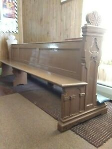 Antique Carved Gothic Victorian Church Pew Bench 9ft Painted