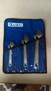 Expert 3 Piece Adjustable Wrench Set Sae Metric Small Medium Large E112701