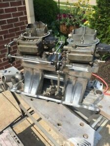 Edelbrock Sbc Chevy Tr1yx Tunnel Ram Intake Manifold 2 Holley Carbs