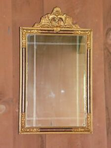 Antique Art Nouveau Gold Gesso Framed Silvered Etched Venetian Style Wall Mirror