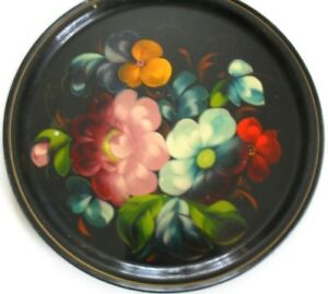 Vintage Hand Painted Black Metal Serving Tray 12 Round Russian Mark Floral