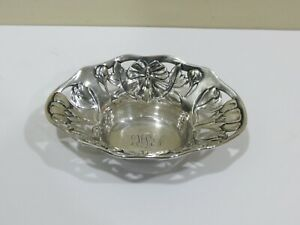 Antique 1800 S Gorham Pierced Sterling Silver Ornate Embossed Small Dish Or Tray