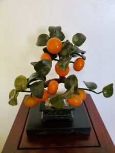 Vintage Chinese Genuine Xiuyu Jade Orange Tree Bonzai