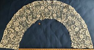 Unusual Victorian Point Ground Bobbin Lace Section Of Cape Collar Collector