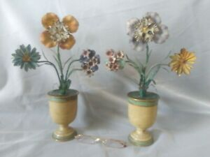12x10 Tole Figural Floral Flowers N Urns 1800 S Antique Tin Ware Folky Painted