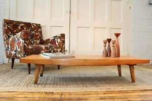 Mid Century Danish Modern Slat Coffee Table Rare 10 Tall Closed Ends Dovetailed