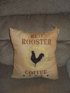 Primitive Shabby Farmhouse Red Rooster Coffee Stenciled Pillow 12 By 12 Great
