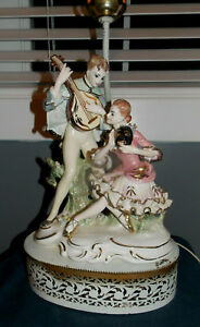Italian Figural Porcelain Boudoir Lamp Dresden Lace Style Metal Base 18 Tall