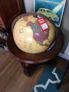 George F Cram Classica World Globe 16 Lighted Wood Stand On Casters
