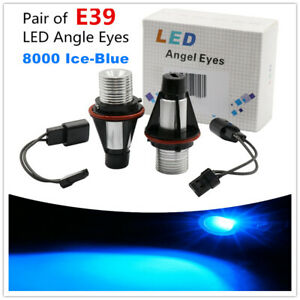 2pcs 12w 8000k Ice Blue Led Angel Eyes Halo Ring Light Bulbs For Bmw E39 Series