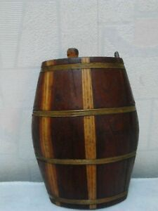 Antique Primitive Old Wooden Canteen Flask Keg Iron Banded