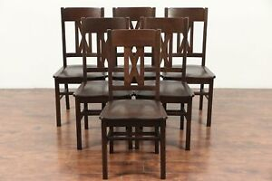 Set Of 6 Arts And Crafts Mission Oak Antique Craftsman Dining Chairs 29505