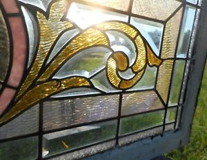 Antique Victorian Stained Glass Window Bevels Acanthus Scroll 48 Wide Vgc 2