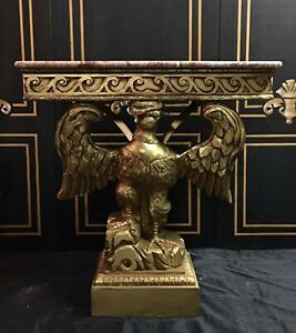 Georgian Federal Gilt Carved Eagle Console Table Marble Top