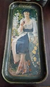 Coca-Cola Tray Blue Dress Lady 1973 reproduction Lot of 2