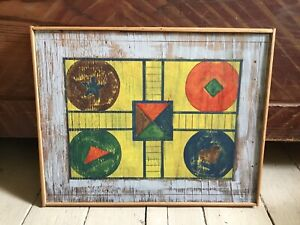 Painted Wood Parcheesi Folk Art Game Board Hand Made Reproduction