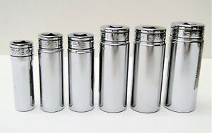 6 Pc Snap On Deep Chrome Socket 12 Point Set 7 16 Thru 13 16