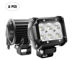 Nilight Led Light Bar 2pcs 18w Flood Driving Fog Light Off Road