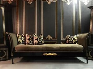 French Regency Neoclassical Sofa Daybed Black Lacquer
