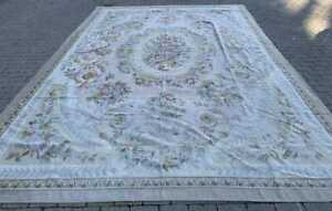 Antique French Style Floral Aubusson Needlework Rug Tapestry Carpet 14 By 9 5