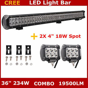 36inch 234w Led Work Light Bar Flood Spot Combo Offroad Boat 4wd Lamp 2x18w Pods