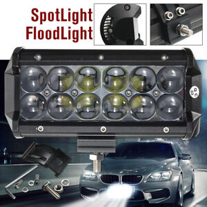 7 Inch 60w 12 Led Bar Flood Spot Work Light Driving Suv Atv Off Road Truck Boat
