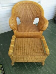 Vintage Oversize Natural Original Rattan Weave Chair W Footstool
