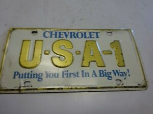 Vintage Chevy Usa 1 Steel Green Back Dealer Front License Plate Topper You Fir