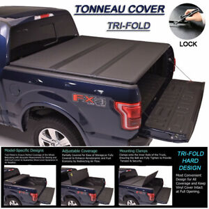 Fits 2007 2018 Tundra Crew Max Lock Hard Solid Tri Fold Tonneau Cover 5 5ft Bed