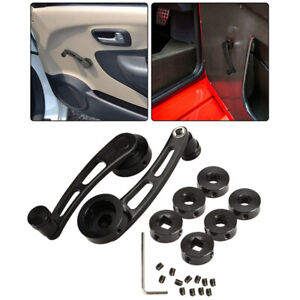Pair Universal Car Black Billet Aluminum Manual Door Window Winder Crank Handle