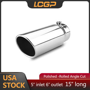 Diesel Exhaust Tip 5 Inlet 6 Outlet 15 Long Rolled Angle Cut Bolt On