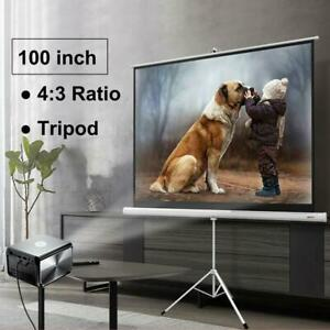 100 In 4 3 Rollable Hd Projector Screen Projection Pull Up With Tripod Stand