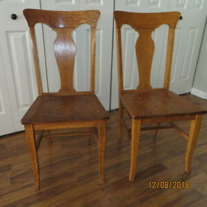 Two Vintage Solid Oak Dining Chairs