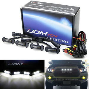 Smoke Lens White Led Front Grille Lights For 16 up Toyota Tacoma W trd Pro Grill