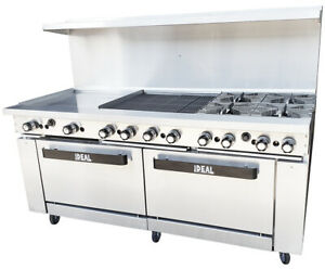 New 72 Range With Griddle broiler 4 Burners 2 Ovens Etl Made In Usa By Ideal