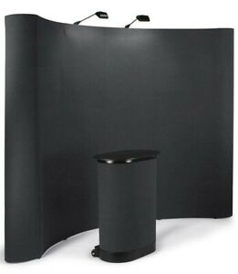 10 Foot Deluxe Black Pop Up Trade Show Display Booth With Podium
