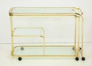 Mcm Milo Baughman For Dia Expandable Brass And Glass Bar Service Cart