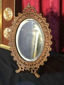 Antique Victorian Cast Metal Vanity Dresser Mirror Shamrock Clover Border