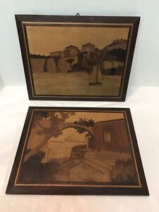 Vintage Inlaid Wood Picture Frames 9 By 11 5