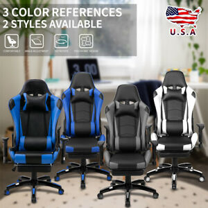 Gaming Chair High Back Racing Recliner Bucket Seat Computer Desk Footrest Office