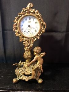 Early Waterbury Cherub Ornate Victorian Brass Mantle Clock 7 1 4 Reduced