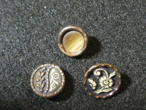 Antique Buttons Collection Of 3 Victorian Celluloids