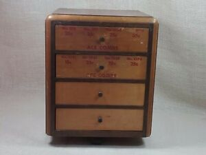 Antique Store Display Ace Combs 4 Drawer Small Wooden Cabinet Advertising