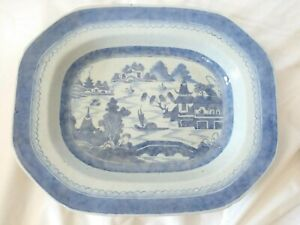 Antique Canton Blue White Chinese Export 13 Platter Bowl 2 3 8 Deep 1850