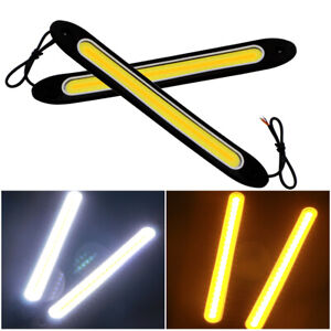 2x Led Strip Light White Amber Drl Turn Signal Cob 72smd Silica Fog Driving Lamp