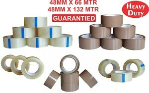 Heavy Duty Sellotape Packing Tape Rolls Strong Clear Brown 66 132 Mtr Gurente