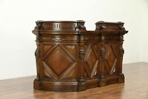 English Victorian Antique Oak Hotel Reception Desk Bank Counter Or Bar 30237