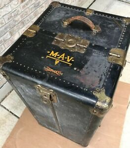 1900s Antique Gibraltarized Steamer Trunk Wardrobe Trunk Cushion Top Hartmann